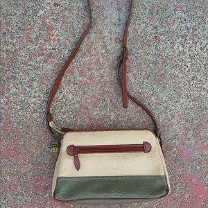 🌿 Vtg Teal & Tan Leather Crossbody Bag